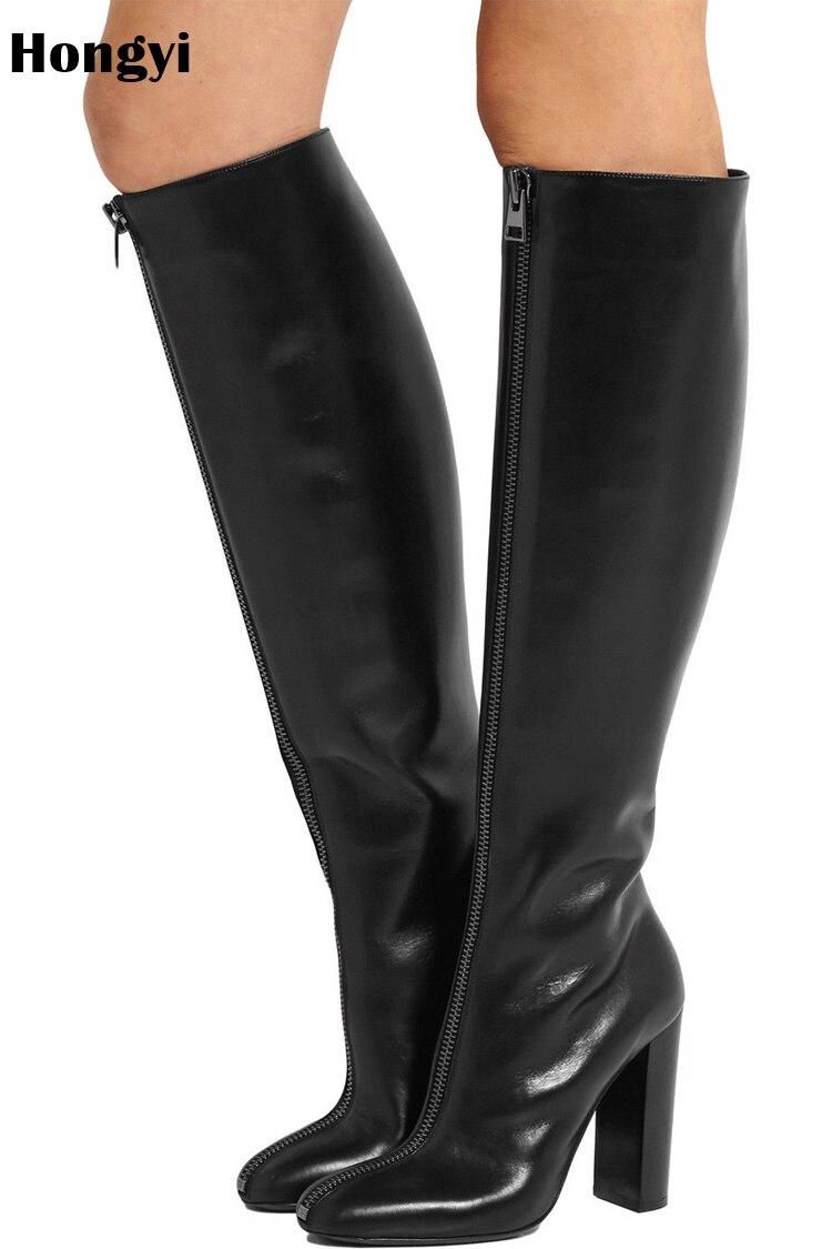 New Arrival Fashion Black Leather High Heel Winter Knee High Boots Women Front Long Zipper Designer BotaNew Arrival Fashion Black Leather High Heel Winter Knee High Boots Women Front Long Zipper Designer Bota