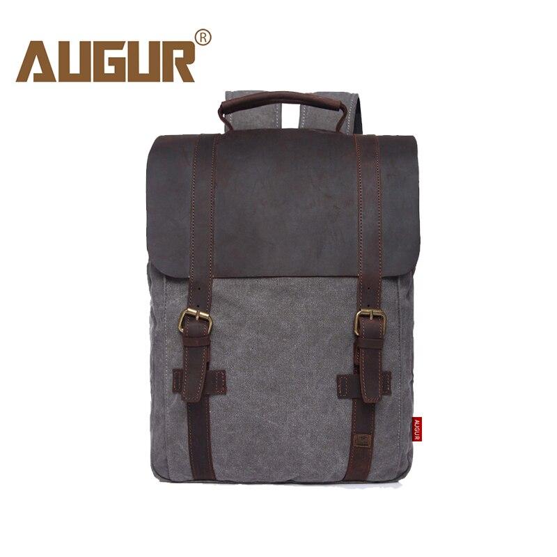 Backpack Vintage Canvas Leather  Backpack Design Male School Travel Rucksack 15.6 Inch Laptop Student Bag