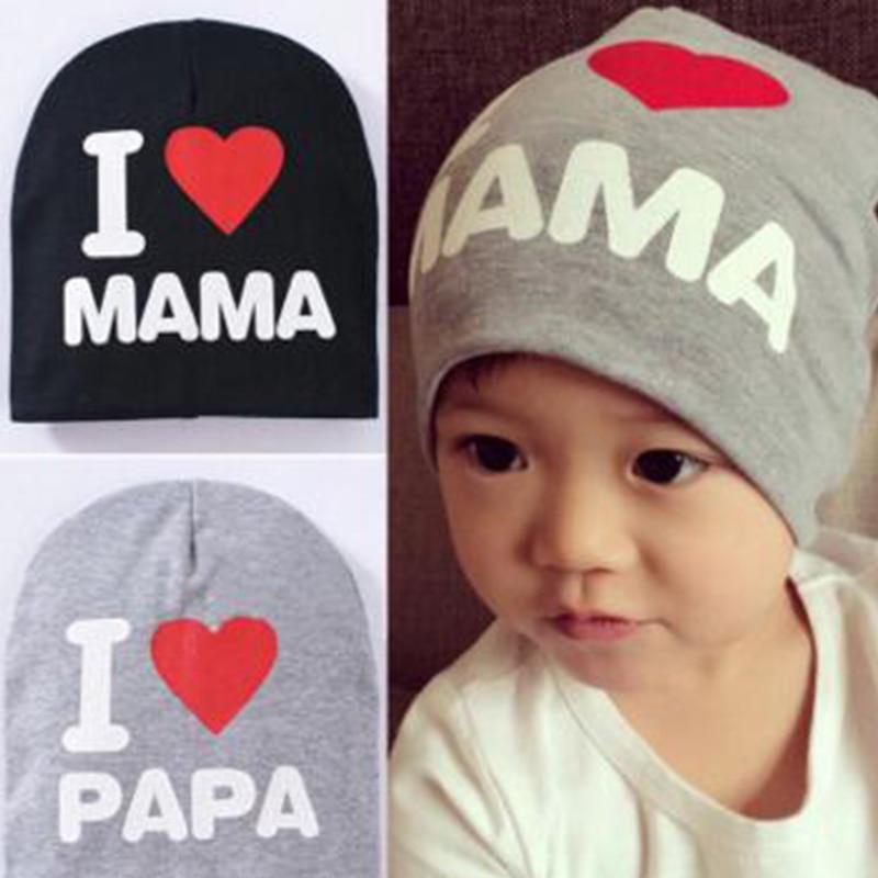 1 PCS I LOVE MAMA PAPA Star Print Baby Kids Hat Caps Cotton Beanie Boy Girl Crochet Bonnet Cap Kids Baby S3826