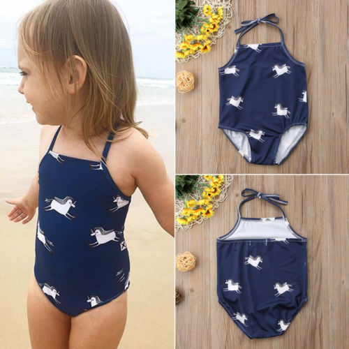 Kid Baby Girl Horse Printed Halter Tankini Bikini Swimwear Swimsuit Bathing Suit Beachwear