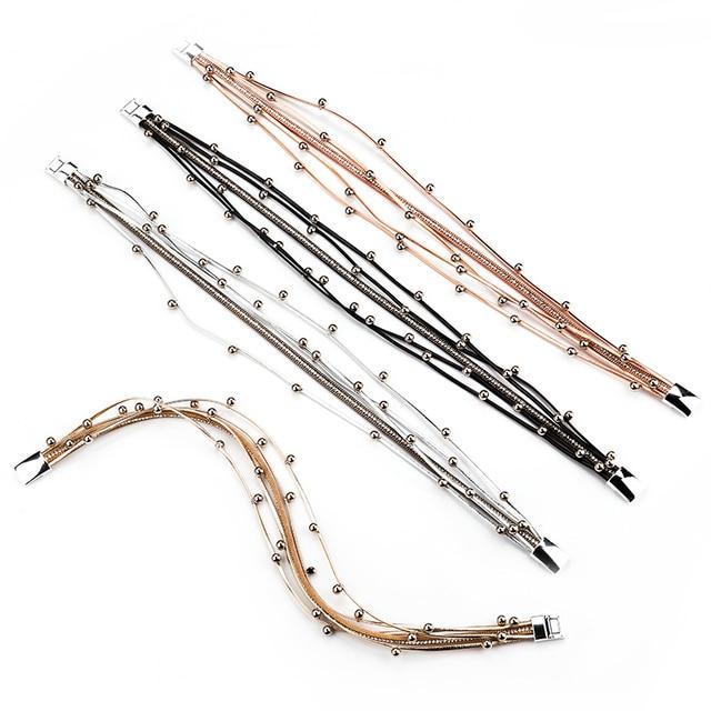 ALLYES Multilayer Leather Wrap Bracelets for Women Femme Crystal Metal Beads 4