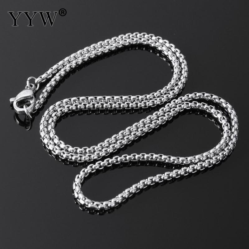 Stainless Steel Nekclace Box Chain Hombre diy Pendant Chain Necklaces Women Long Sweater Chain Necklace