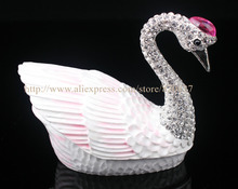 Czech Crystal Swan Handmade Inspired Trinket Box Handcrafted Enamel Bird Figurine Ring Box Wedding Swan Gifts