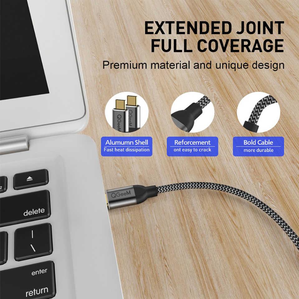QGeeM USB 3.1 نوع C إلى USB C كابل Gen2 PD 60 واط USB-C إلى USB C شحن سلك الحبل النايلون وصلة كابل لسامسونج S9 S8 ماك بوك برو