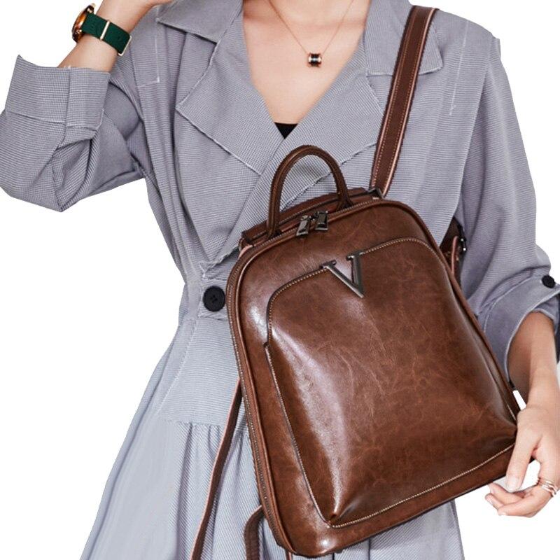 Sac à dos en cuir véritable pour femmes sac à dos bandoulière Messenger sac à dos en cuir de vachette sac à dos mode rétro femme sac à dos