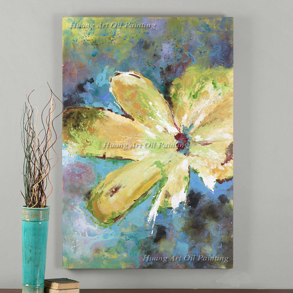 the most famous living room decor painting abstract yellow flower ...