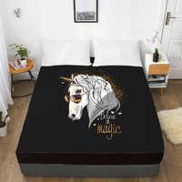 3D HD цифровая печать индивидуальная кровать лист с эластичным, встроенный двойной лист полный королева король, матрас крышка 160x200, черный еди...