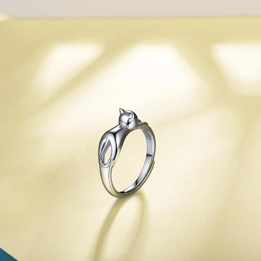U7 стерлингового серебра 925 Cat Симпатичные кольца для Для женщин Рождественский подарок ее палец кольцо животных ювелирных изделий реального Чистая стерлингового серебра 925 SC07