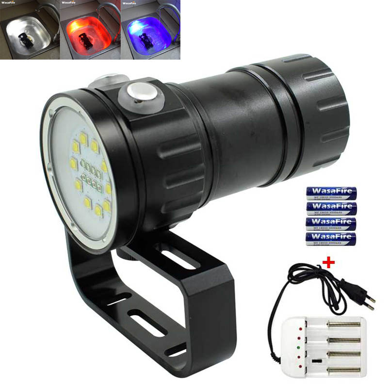 10*XM-L2 White 4*Red 4*Blue LED Scuba Diving Flashlight Underwater Dive Torch Lamp Photo Video Flash Light+18650 Battery+Charger d32vr underwater scuba diving video flashlight 2 cree leds blue light 2xcree xml u2 led white light 32650 battery charger
