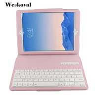 For IPad Air 2 Wireless Bluetooth Keyboard Case For IPad Air 2 Tablet Flip Leather Stand