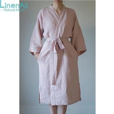 LinenAll женская баня и сна одеяние, вода 100% конопли ванна халат Мягкой дышащей удобные бактериостаз красный/розовый/синий/серый/