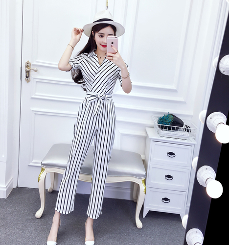 Korean Fashion Chic V Neck Rompers Elegant Bow Pocket Striped Casual Brief Pocket Belt Rompers Womens Jumpsuit 3
