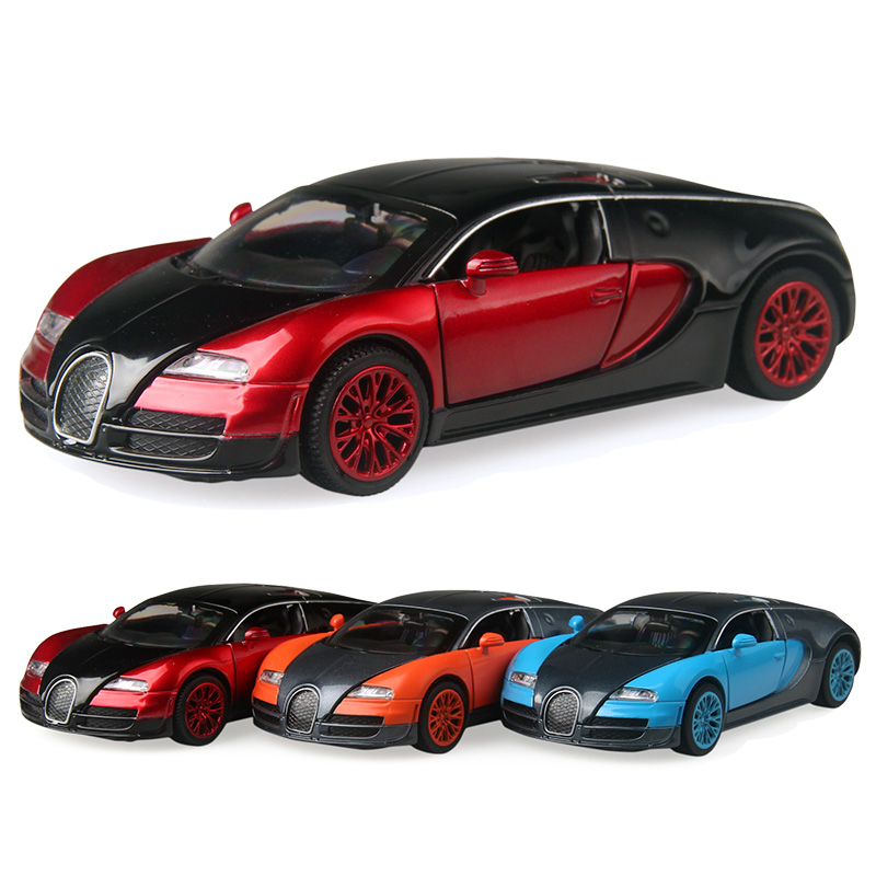 So cool Alloy Cars 1:32 Veyron Super car Pull Back Diecast Model Toy with light flashing simulation sound Gift toy For Boys Kids