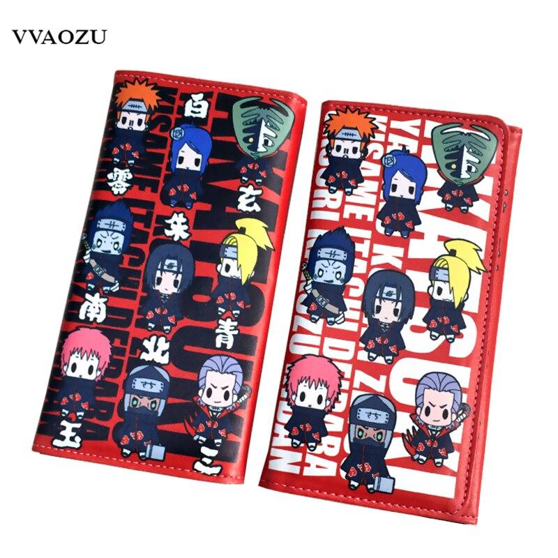 Naruto Women Men Sasuke Uchiha Cartoon Wallet Long Creative Itachi Uchiha Card Holder Casual PU Leather Coin Purse