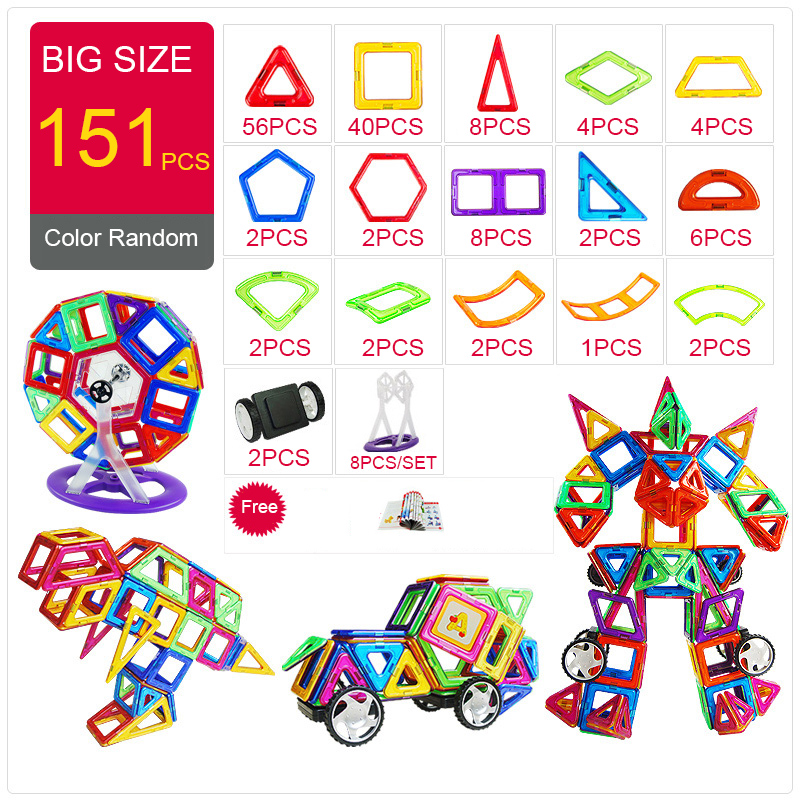 KACUU Magnetic Designer Construction & Building Toys 157PCS Big Size Magnetic Blocks Magnets Building Blocks Toys For Children 162pcs big size magnetic designer construction building blocks toys technic plastic blocks assembly children enlighten bricks