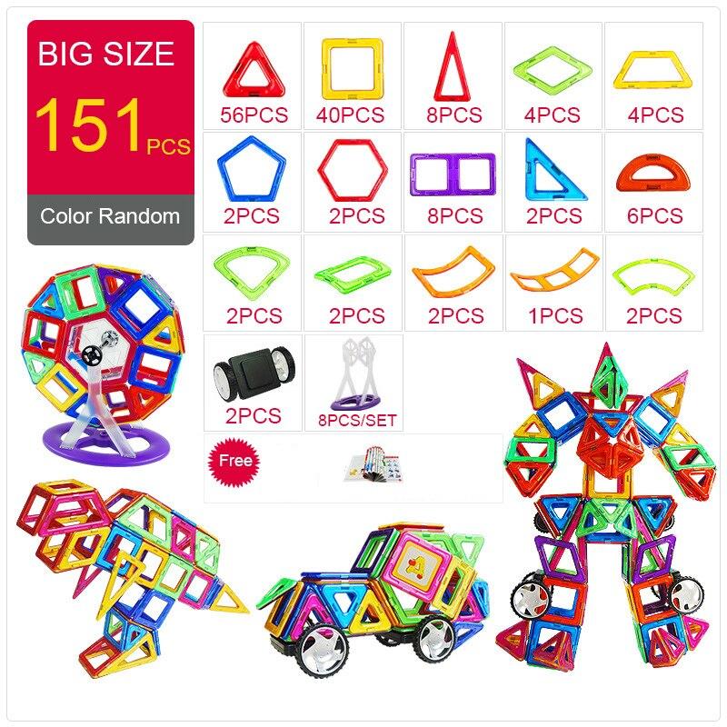 KACUU concepteur magnétique Construction & Construction jouets 157 pièces grande taille blocs magnétiques aimants blocs de Construction jouets pour enfants