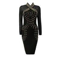 Chic Luxe Altın Metal Çember Süslenmiş Örgü Uzun Kollu Toptan Kadınlar Akşam Bandaj Elbise HL993