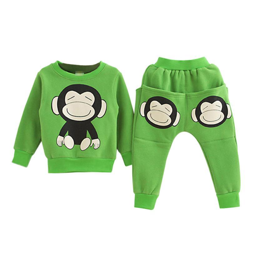 Girls monkey hoodie suit animal Autumn winter Fashion Baby Girl full T-Shirt Sweatshirt Childrens Tops+Pants Set gift ov9 p30