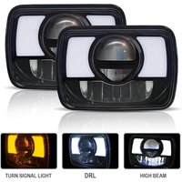 2PC 5X7 7X6 Led Hi/Lo Sealed Beam Headlamp with DRL Amber Turn Signal Replace Hid Xenon Halogen c Headlights