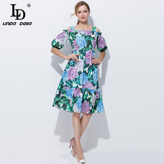 220db54ccff43 US $42.49 15% OFF|High Quality Runway Designer Summer Dress Women Elegant  Off the Shoulder Casual Green Floral Print A Line Knee Length Dress-in ...