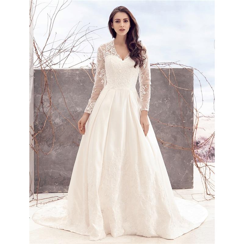 LAN TING невесты-Line V шеи часовня Поезд Кружева За атласная Пользовательские Свадебные платья с кружевом