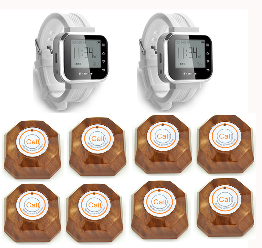 2pcs Hot Sale White Waiter Service Calling System Watch Pager Service System (KR-C166) + 8pcs F61 Wireless Transmitter one set wireless system waiter caller bell service 1 watch wrist pager with 5pcs table customer button ce passed