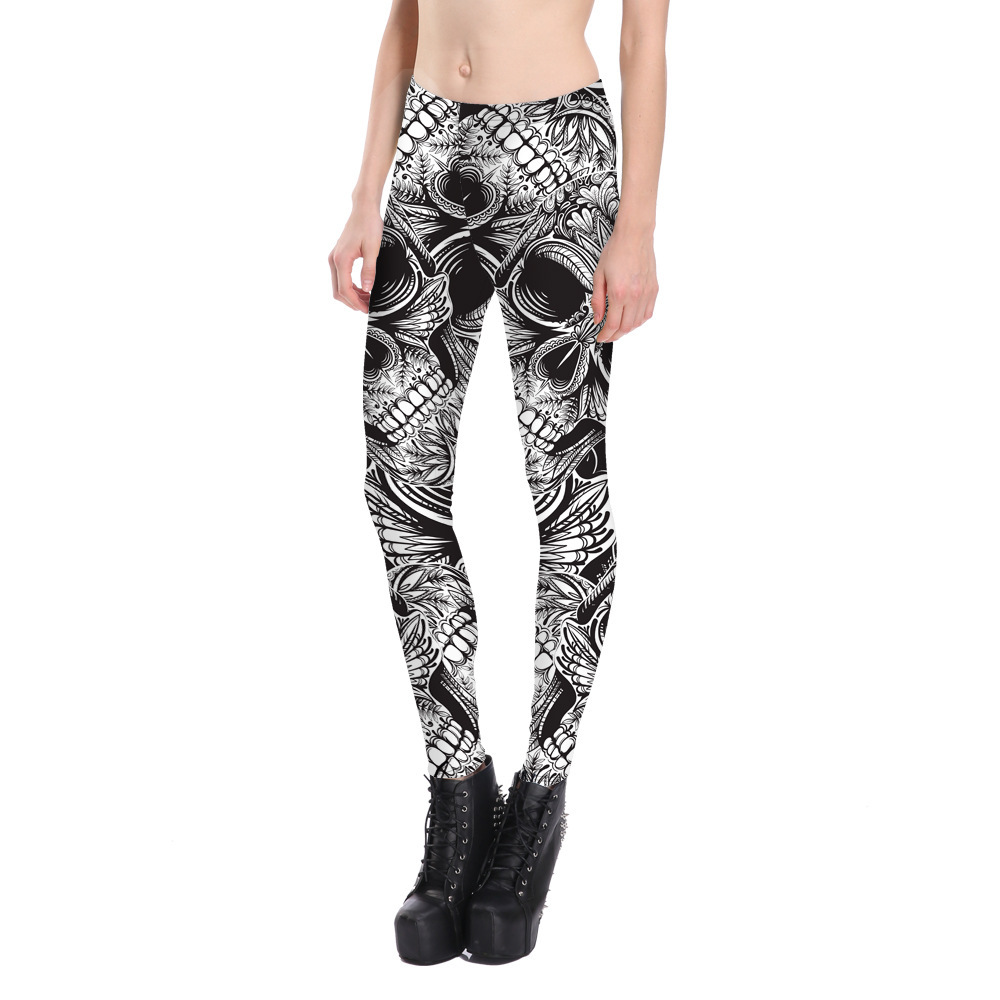 Skull Print Leggings Women High Waist Fitness Leggings Slim Elastic Sexy Causal Leggings Winter Plus Size Leggins Mujer