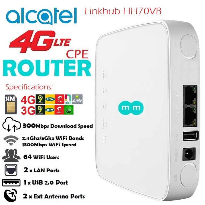 US $88 0 |Original Alcatel HH70 4G LTE 300Mbps FDD TDD Wireless Router 4G  Mobile WiFi Hotspot PK B525S E5186 B612-in 3G/4G Routers from Computer &