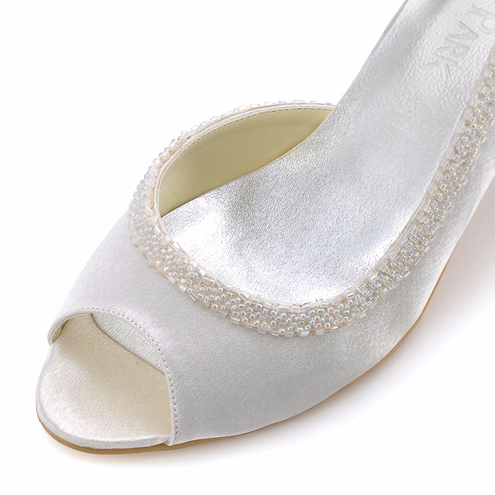Mode Frau Kleid Schuhe EL 005 Weiß Elfenbein Peep Toe Perlen High ...