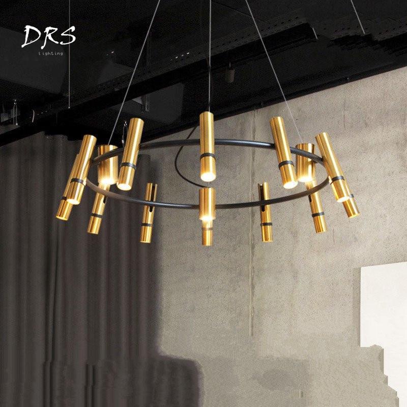 Suspendu Post Modern Luxury Pendant Lamps Creative Living Room Hanging Circular Golden Cylinder Chandelier Lighting Led