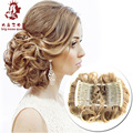 Women New High Quality Two Plastic Combs Elastic Net Curly Chignon Easy Clip Wavy Hair Clamp Bun Updo Hairpiece Styling Tool