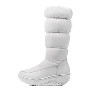 Image 5 - MORAZORA artı boyutu 35 44 yeni moda kış kar botları platform ayakkabılar ayakkabı orta buzağı kadın botları düz renk fermuar beyaz