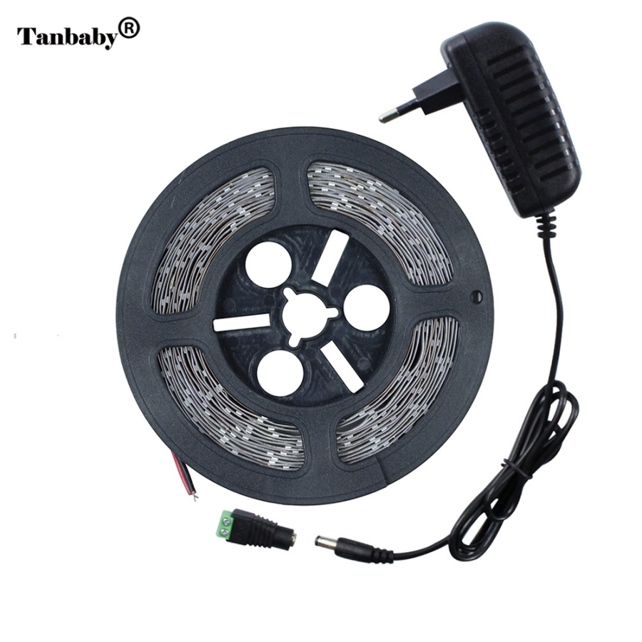 Tanbaby LED Strip 7020 SMD 300leds/5M Cool/Warm White DC12V not waterproof LED Light Flexible Ribbon Tape+12V 2A Power Adapter