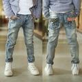 2016 весна новая детская одежда Vestidos мальчиков жан дети рваные джинсы для учащихся средних школ 8 9 10 11 12 лет B130