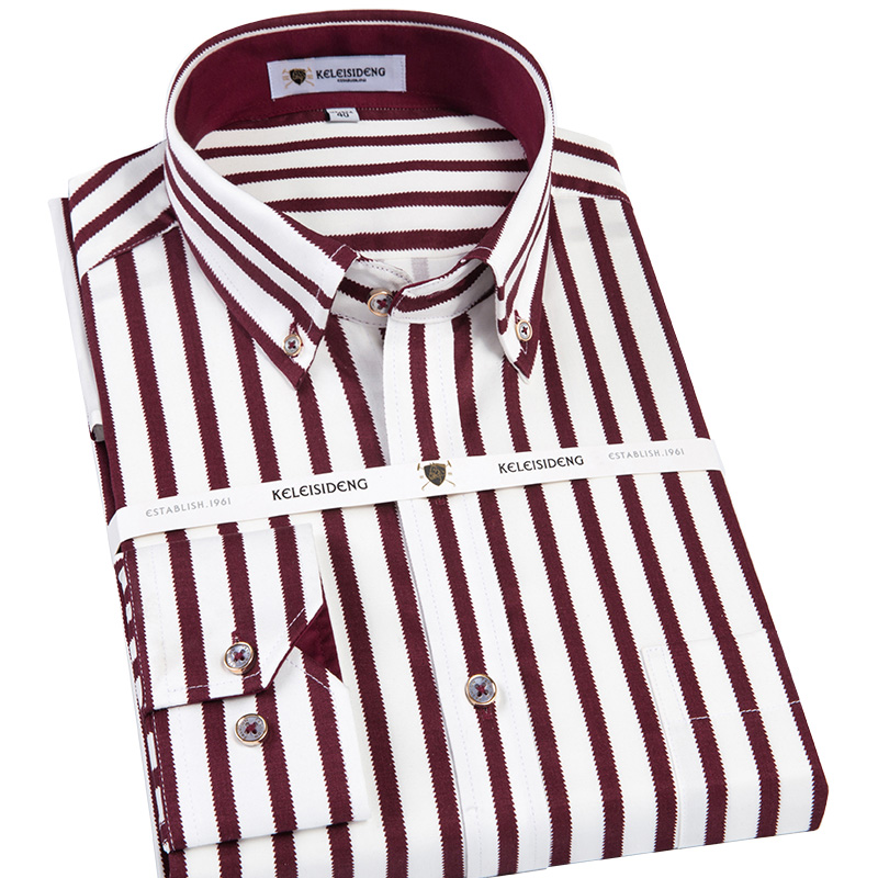 Men's Long Sleeve Contrast Vertical Striped Dress Shirt with Front Pocket High-q