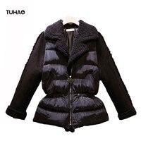 Thick Plus Size Winter Parkas Faux Lamb Fur Collar Drawstring Slim Waist Down Jacket Women Coat Casual Zipper Outerwear TJ7190