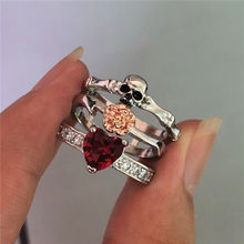 Luxury Rose Flower Wedding Ring Set Fashion 925 Silver Love Red Heart Rings For Women Vintage Skull Ring(China)