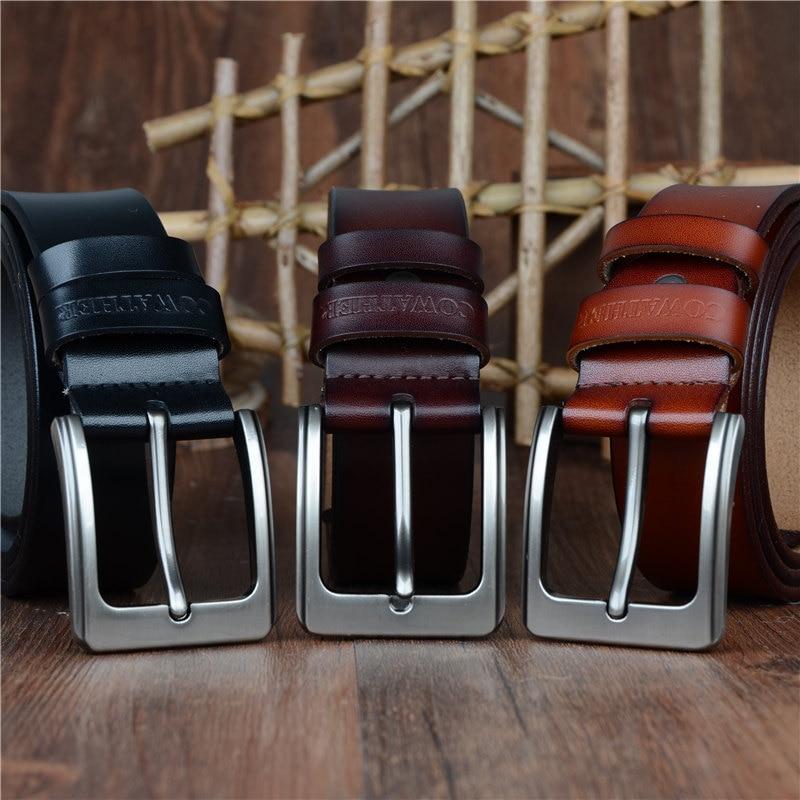 COWATHER män bälte ko äkta läder designer bälten för män - Kläder tillbehör - Foto 3