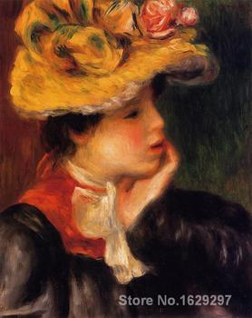 large oil paintings for sale Head of a Young Woman (Yellow Hat) Pierre Auguste Renoir canvas art Handmade High Quality