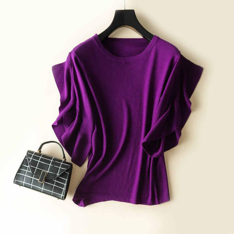 Litvriyh Новый кашемировый свитер женские свитера и пуловеры короткий рукав круглый вырез модный Дамский пуловер Женская трикотажная рубашка