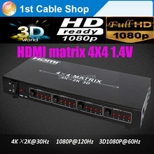 High-performance HDMI matrix 4X4 HDMI1.4V 3D,4kX2K resolutions,RS232 with Remote control in retail package
