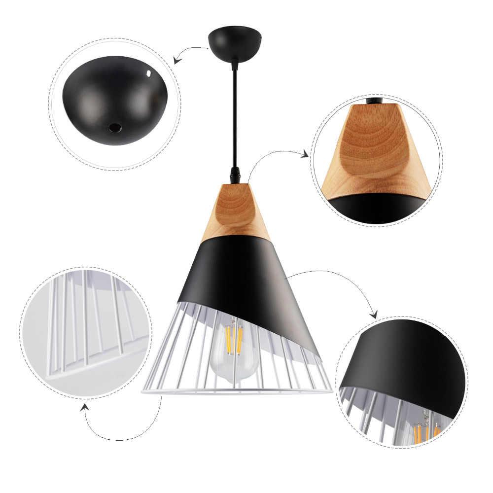 Bắc Âu LED Mặt Dây Chuyền Đèn Gỗ E27 AC85-265V Độ Dốc Treo Đèn Phòng Ăn Nhà Hàng BẾP NHÔM Đèn LED Đèn
