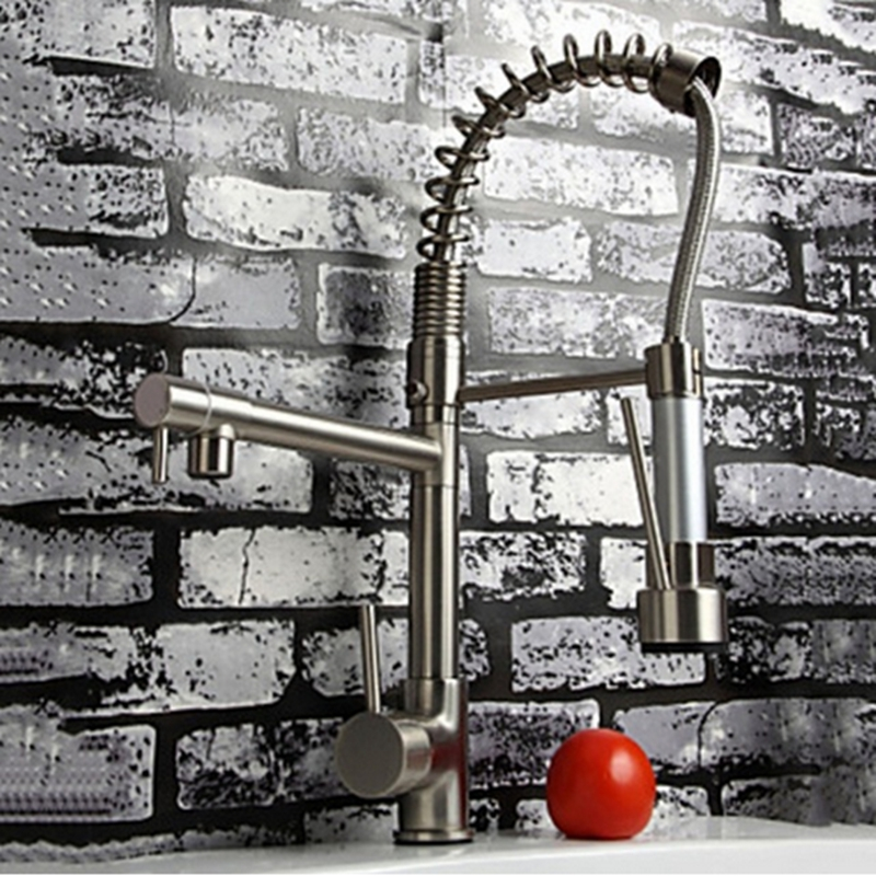 Vanity Solid Brass Nickle Brushed Spring Vessel Pull Out Kitchen Faucet Mixer Tap Deck Mounted
