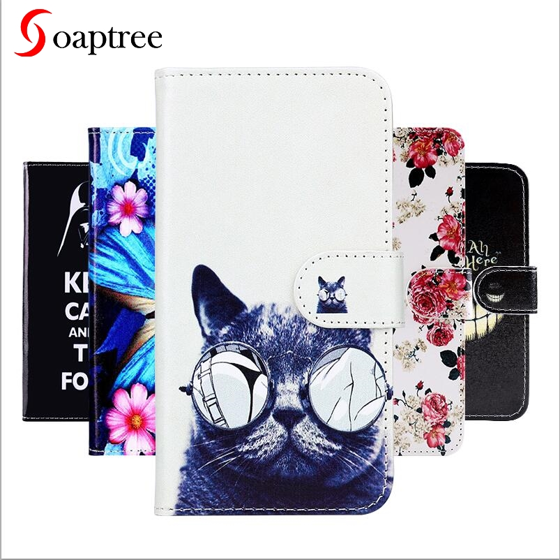 Soaptree Flip Leather Cases For <font><b>Lenovo</b></font> K5 play <font><b>L38011</b></font> Case Wallet Cover DIY Painted Black PU Phone Bags Coque 5.7 inch image