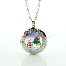 2016 trendy Christmas Jewelry cartoon cute Child Tree Deer glass dome locket necklace women New Year jewellery kids gifts CM156