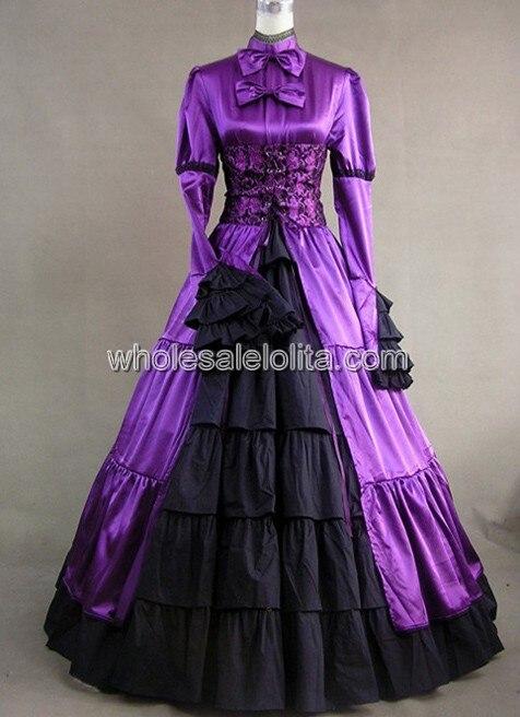 Королевское фиолетовое викторианское готичное платье с корсетом - Цвет: purple and black