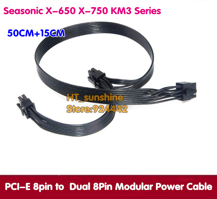 new Black 50cm+15cm PCI-E Dual 8(6+2)Pin Video Card Modular Power Supply Cable for Seasonic X-650 X-750 KM3 Series send by dhl ems black dual 8pin pci e modular power supply cable for seasonic x 650 x 750 km3 series 50cm 15cm 18awg