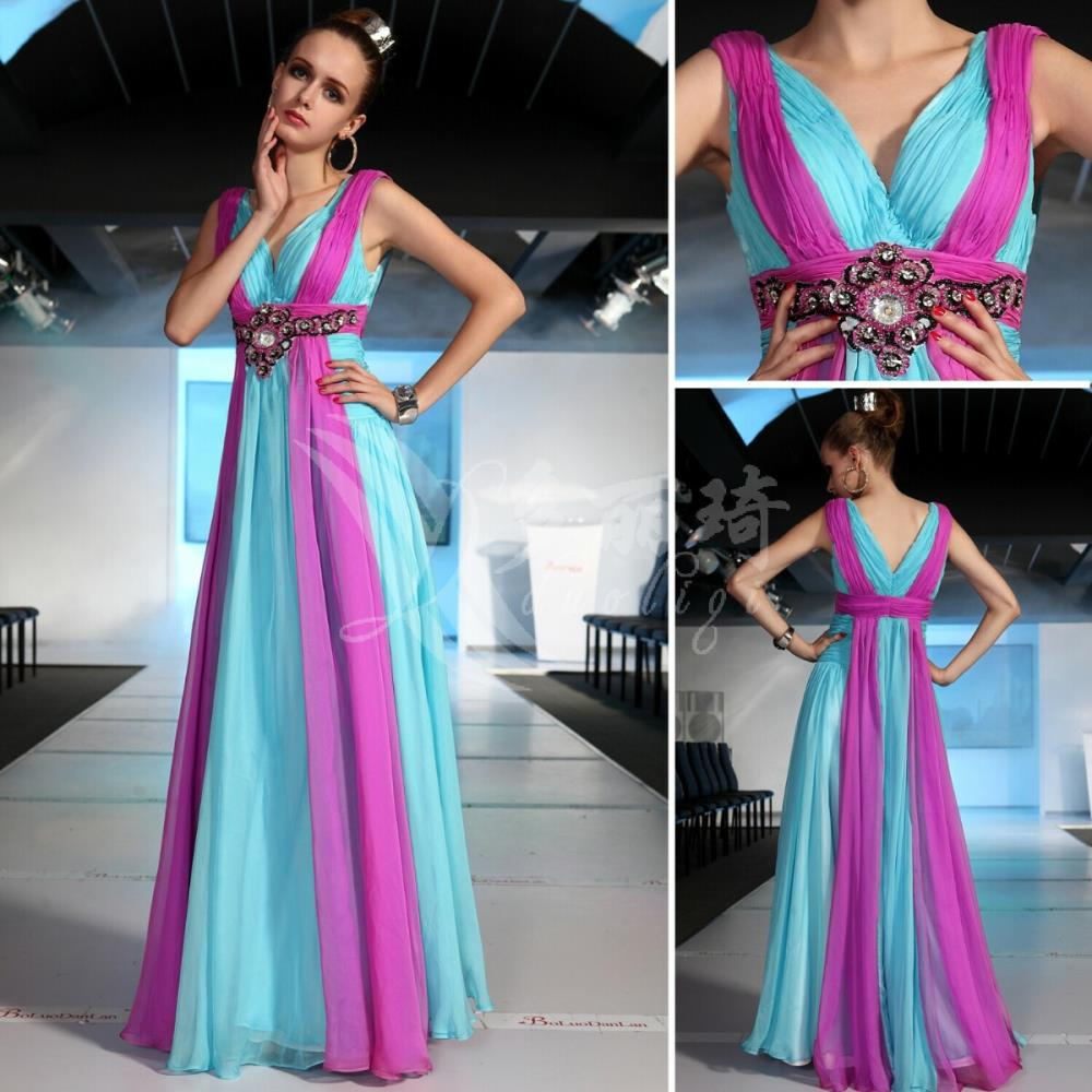 free sipping 2016 blue and purple Banquet bridesmaid bride long design rainbow colors married evening dress celebrity dresses