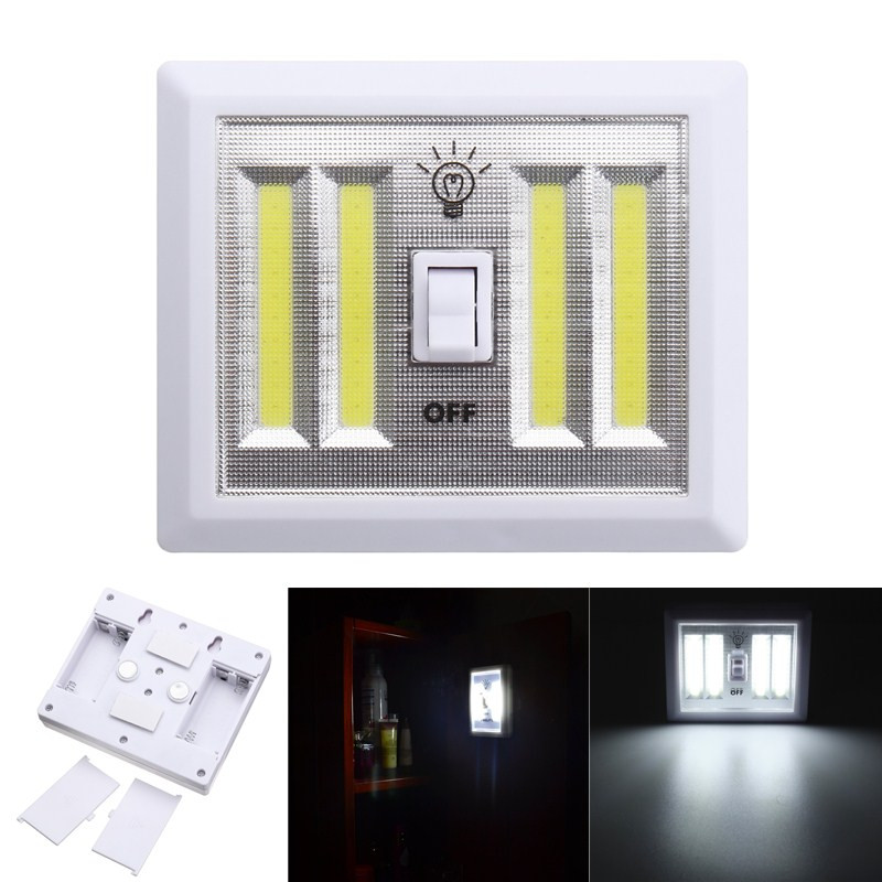 Jiguoor Battery Powered 4 COB LED Switch Night Light Wall Lamp For Kitchen Cabinet Garage Closet Camp Emergency Lamp