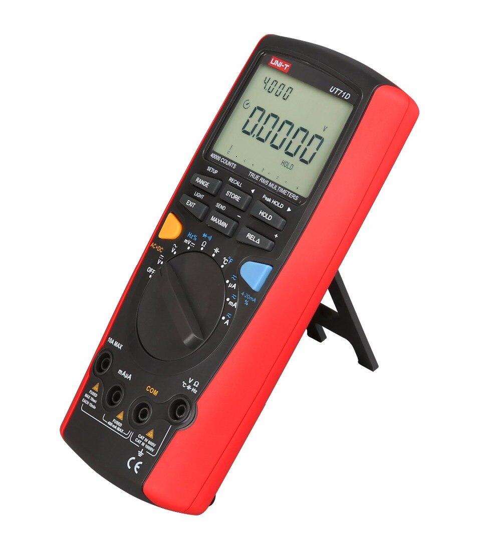 UNI T UT71D 4 3/4 Digital Multimeter LCD Professional AC DC Volt Amp Ohm Hz Temp. Multi Meters Auto Range True RMS